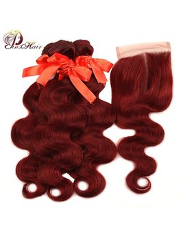 Pinshair 99 J Hair Red Bundles With Closure Burgundy Brazilian Body Wave Human Hair Weave Bundles With Closure Non Remy No Tangle by Pinshair