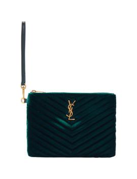 Green Velvet Monogramme Pouch by Saint Laurent