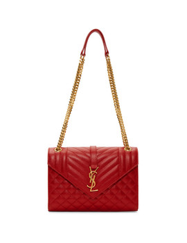 Red Medium Envelope Chain Bag by Saint Laurent