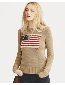 Flag Metallic Cotton Sweater by Ralph Lauren