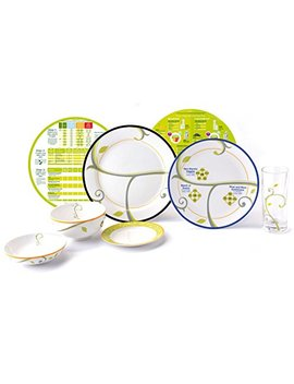 Precise Portions Porcelain Dinnerware Set, Weight Loss Starter Kit Includes 2 Divided Dinner Plates, Desert Plate, Portion Control Bowl And Glass, Nutrition... by Precise Portions