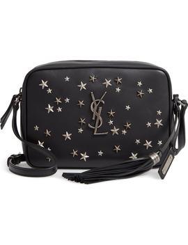 Medium Lou Star Studded Calfskin Leather Camera Bag by Saint Laurent