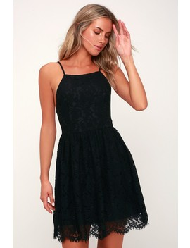 Roman Black Lace Skater Dress by Lulus