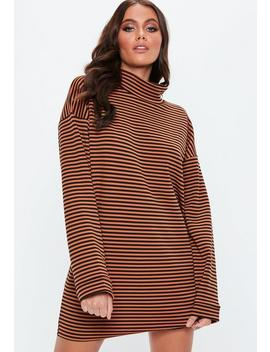 Rust High Neck Striped Shift Dress by Missguided