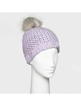 Women's Fleece Lined Chunky Knit With Faux Fur Pom Beanie   Universal Thread™ by Shop This Collection