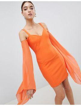 Club L Angel Wing Chiffon Scuba Bodycon Dress by Club L