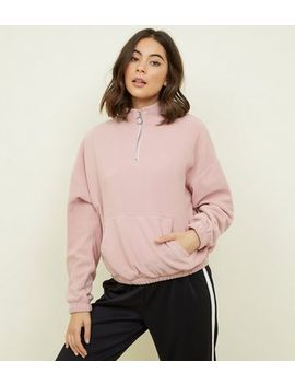 Pale Pink Zip Neck Fleece Sweatshirt by New Look