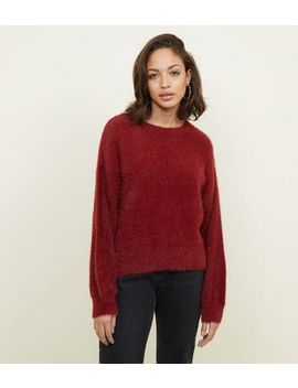 Plum Fluffy Slouchy Jumper by New Look
