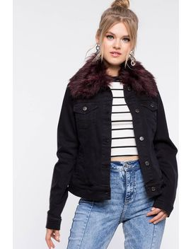 Fur Hood Denim Jacket by A'gaci