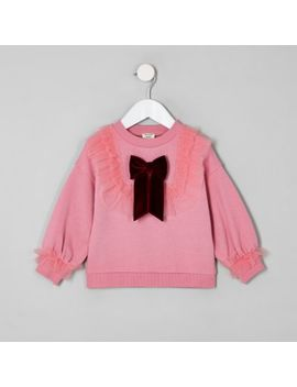 Mini Girls Pink Mesh Frill Sweatshirt by River Island