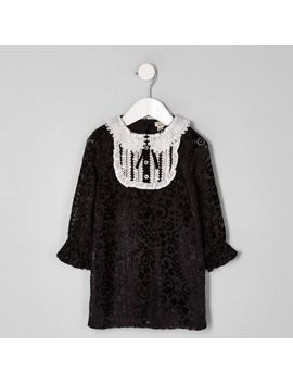 Mini Girls Black Collar Button Shift Dress by River Island