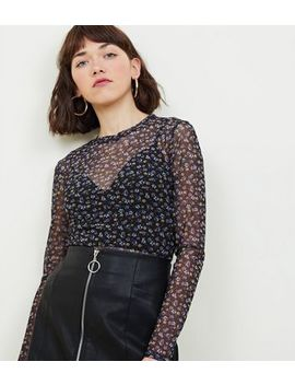 Black Floral Long Sleeve Mesh Top by New Look