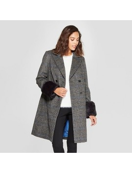 Women's Plaid Double Breasted Coat   A New Day™ Black by A New Day