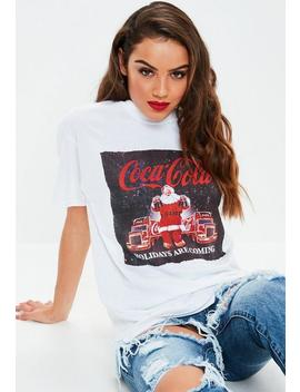 White Coca Cola Christmas Graphic T Shirt by Missguided
