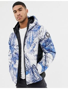 Good For Nothing Hooded Puffer Jacket In Alp Print by Good For Nothing