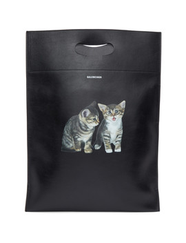 Black Small Kitten Plastic Bag Shopper Tote by Balenciaga