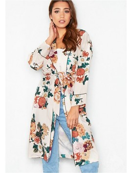 Piper Nude Floral Longline Kimono Jacket by Missy Empire