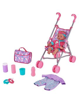 Kid Connection 9 Piece Baby Doll Stroller Set, Purple & Pink by Kid Connection