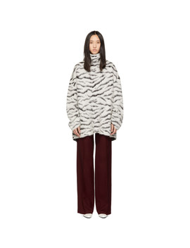 White & Black Mohair Tiger Stripes Turtleneck by Givenchy