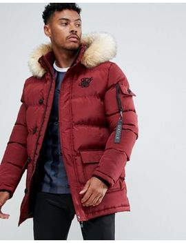 Sik Silk Parka Jacket With Faux Fur Hood In Burgundy by Sik Silk