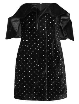 Off The Shoulder Embellished Velvet Mini Dress by Self Portrait
