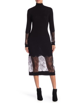 Lace Trim Turtleneck Dress by Bcbgmaxazria