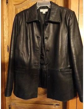 Leather Jacket, Women's, Black, Size Large. by Casual Corner