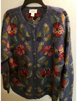 Talbots  Blue Floral  Wool Cardigan Sweater Womens Size Large  Beautiful! by Talbots