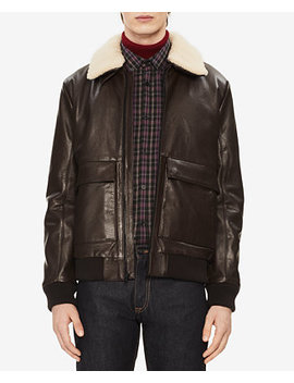 Men's Leather Jacket With Sherpa Trim by Calvin Klein