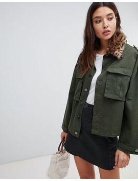 Blank Nyc Utility Jacket With Leopard Print Collar by Blank Nyc