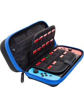 Bendo Hard Carrying Case Stand For Nintendo Switch,Fits Wall Charger,Built In Stand, 19 Game Card Holders, Large Pouch Case For Nintendo Switch Console And Accessories   Blue/Black by Bendo