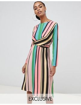 Boohoo Wrap Front Tie Back Midi Dress In Pastel Stripe by Boohoo