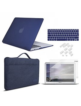"""Mac Book Case Pro 13'' Bundle 5 In 1, I Casso Rubber Coated Mac Book Cover With Laptop Sleeve,Screen Protector,Keyboard Cover & Dust Plug For Mac Book (New Pro13"""" Blue) by I Casso"""