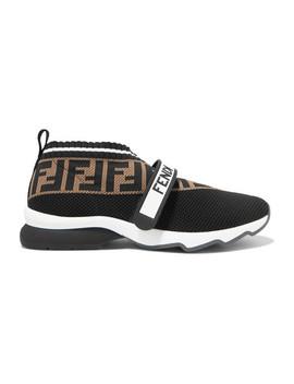 Rockoko Logo Jacquard Stretch Knit And Mesh Slip On Sneakers by Fendi