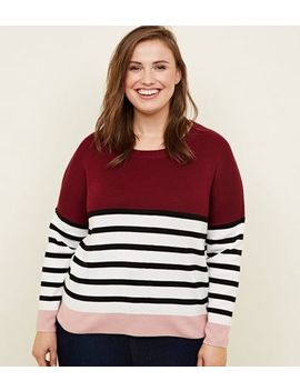 Curves Red Colour Block Stripe Jumper by New Look