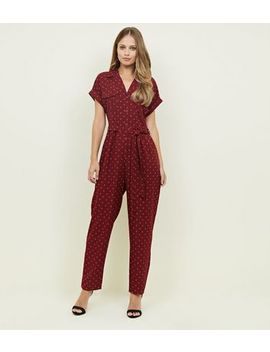 Red Geometric Print Twill Utility Jumpsuit by New Look