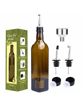 Aozita 17oz Glass Olive Oil Bottle Set   500ml Dark Brown Oil & Vinegar Cruet With Pourers And Funnel   Olive Oil Carafe Decanter For Kitchen by Aozita
