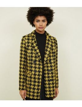 Yellow Houndstooth Check Jacket by New Look