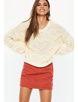 Cream Heart Bobble Pom Pom Cropped Sweater by Missguided