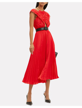 Off Shoulder Pleated Dress by Self Portrait