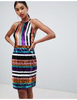 Tfnc Striped Sequin High Neck Bodycon Dress In Multi by Tfnc