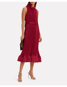 Red Pleated Dress by Tibi