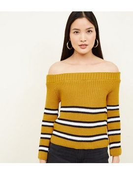 Cameo Rose Mustard Stripe Bardot Jumper by New Look