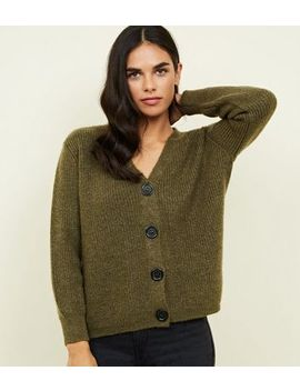 Khaki Rib Knit Button Through Cardigan by New Look