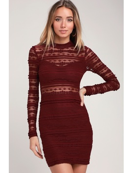 Reece Burgundy Lace Long Sleeve Bodycon Dress by Lush