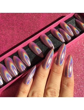 Luxury Hand Painted False Nails. Long Stiletto Holographic Pink Nails. 20 Nail Set. by Etsy