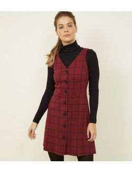 Burgundy Grid Check Button Through Pinafore Dress by New Look