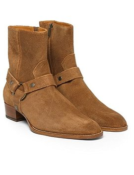 Jinfu Mens Suede Buckles Side Zipper Brown Chelsea Ankle Boots High Top Knight Shoes by Jinfu