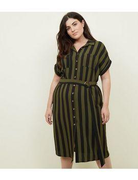 Curves Green Stripe Belted Shirt Dress by New Look