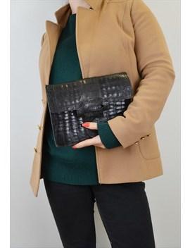 Vintage Leather Envelope Bag Black Mock Croc by Hillhouse Vintage